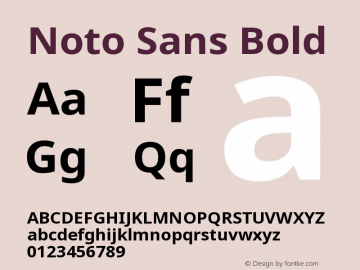 Noto Sans Bold Version 1.04 uh Font Sample