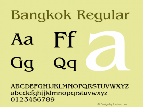 Bangkok Regular 001.003 Font Sample