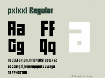 pxlxxl Regular Version 1.00 July 5, 2012, initial release图片样张