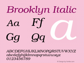 Brooklyn Italic 001.003 Font Sample