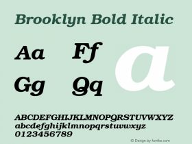 Brooklyn Bold Italic 1.0 Tue Nov 17 22:46:32 1992 Font Sample