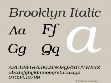 Brooklyn Italic 1.0 Tue Nov 17 22:42:07 1992 Font Sample