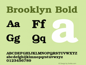 Brooklyn Bold 1.0 Tue Nov 17 22:40:02 1992 Font Sample