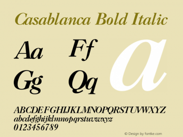 Casablanca Bold Italic 1.0 Tue Nov 17 23:32:42 1992图片样张