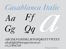 Casablanca Italic 001.003 Font Sample