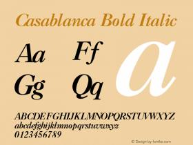 Casablanca Bold Italic v1.0c Font Sample