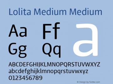 Lolita Medium Medium Version 1.000 Font Sample