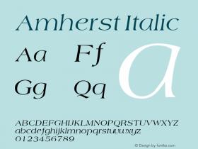 Amherst Italic Macromedia Fontographer 4.1 12/27/97 Font Sample