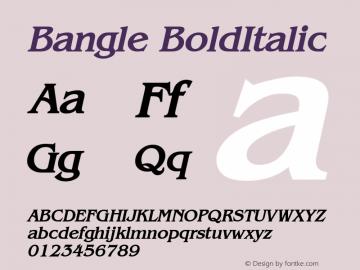 Bangle BoldItalic Altsys Fontographer 4.1 10/31/95 Font Sample