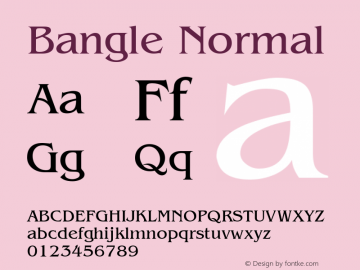 Bangle Normal Altsys Fontographer 4.1 10/31/95 Font Sample
