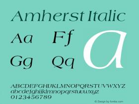Amherst Italic v1.0c Font Sample