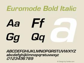 Euromode Bold Italic 1.0 Wed Nov 18 00:57:53 1992 Font Sample
