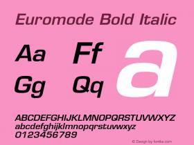 Euromode Bold Italic v1.0c Font Sample