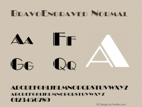 BravoEngraved Normal 1.0 Tue Nov 17 22:28:28 1992 Font Sample