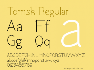 Tomsk Regular Version 1.00 January 22, 2013, initial release图片样张