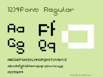 1234Font Regular Version 1.0图片样张