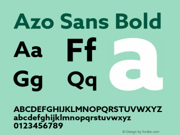Azo Sans Bold Version 1.000 Font Sample