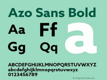 Azo Sans Bold Version 1.000 Font Sample
