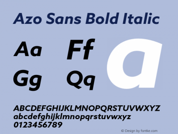 Azo Sans Bold Italic Version 1.000 Font Sample