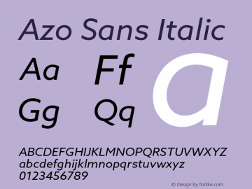 Azo Sans Italic Version 1.000 Font Sample