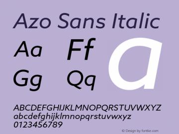 Azo Sans Italic Version 1.000 Font Sample