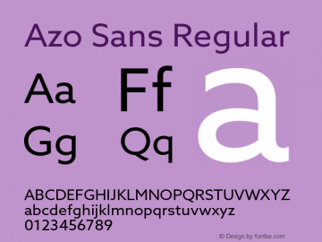 Azo Sans Regular Version 1.000 Font Sample