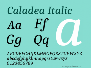 Caladea Italic Version 1.002图片样张