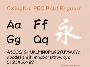 CXingKai PRC Bold Regular Version 3.00 Font Sample
