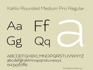 Kahlo Rounded Medium Pro Regular Version 001.001 Font Sample
