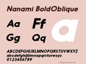 Nanami BoldOblique Version 1.000 Font Sample