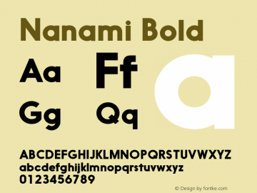 Nanami Bold Version 1.000 Font Sample