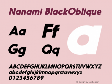 Nanami BlackOblique Version 1.000 Font Sample