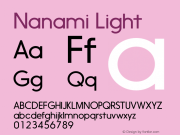 Nanami Light Version 1.000 Font Sample