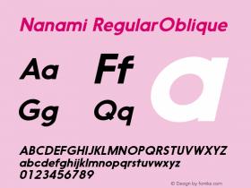 Nanami RegularOblique Version 1.000图片样张