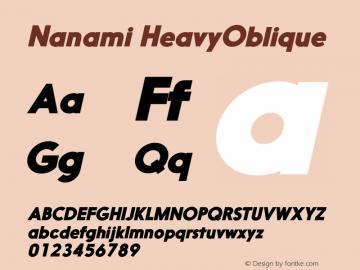 Nanami HeavyOblique Version 1.000 Font Sample