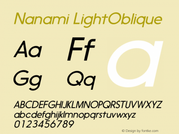 Nanami LightOblique Version 1.000 Font Sample