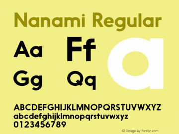Nanami Regular Version 1.000 Font Sample