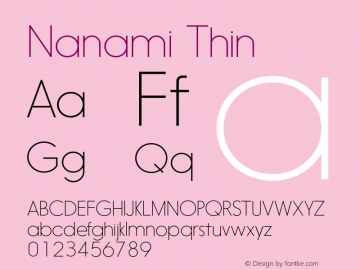 Nanami Thin Version 1.000 Font Sample