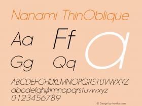Nanami ThinOblique Version 1.000图片样张