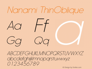 Nanami ThinOblique Version 1.000 Font Sample