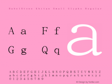 BabelStone Khitan Small Glyphs Regular Version 1.006图片样张