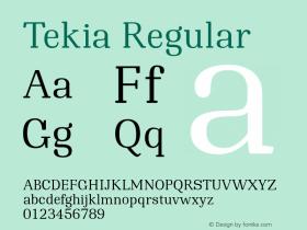 Tekia Regular Version 1.300图片样张