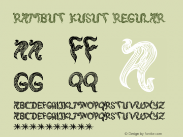 rambut kusut Regular Version 1.00 June 21, 2013, initial release图片样张