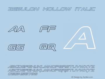 Zebulon Hollow Italic Version 1.10 July 11, 2014图片样张