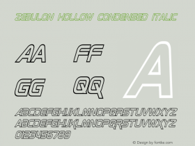 Zebulon Hollow Condensed Italic Version 1.00 - June 21, 2013图片样张