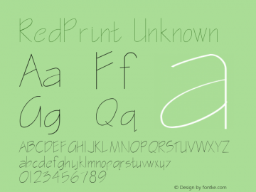 RedPrint Unknown Unknown Font Sample