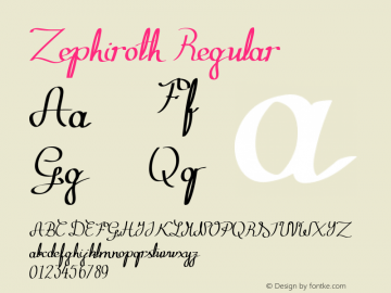 Zephiroth Regular Version 1.00 June 24, 2013, initial release图片样张