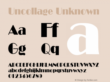Uncollage Unknown Unknown Font Sample