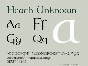 Heath Unknown Unknown Font Sample