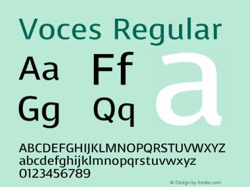 Voces Regular Version 1.001 Font Sample